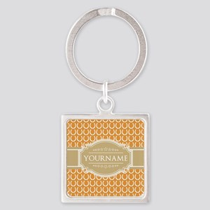 Personalized Horseshoes - Yellow a Square Keychain