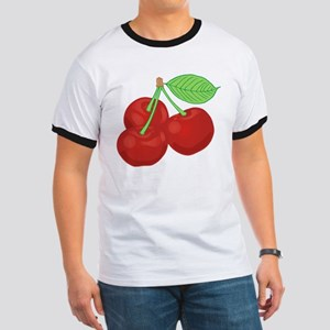 Three Bright Red Cherries Cluster T-Shirt