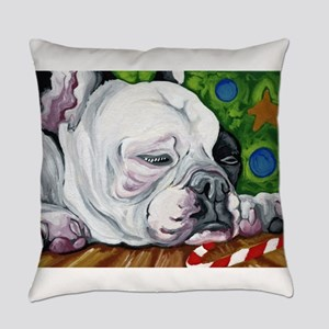 Pied Christmas French Bulldog Everyday Pillow