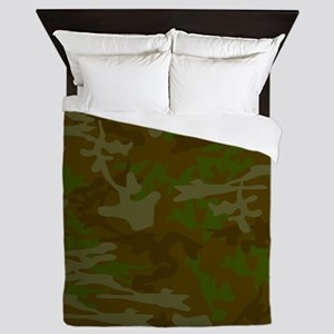 Green Camo Pattern Queen Duvet