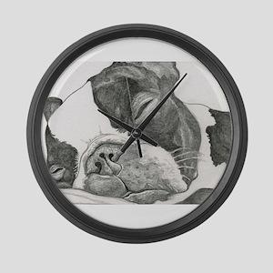 boston graphite Large Wall Clock