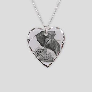 boston graphite Necklace Heart Charm