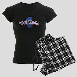 Lake Tahoe with map coordina Women's Dark Pajamas