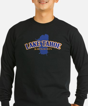 Lake Tahoe with map coordinate Long Sleeve T-Shirt
