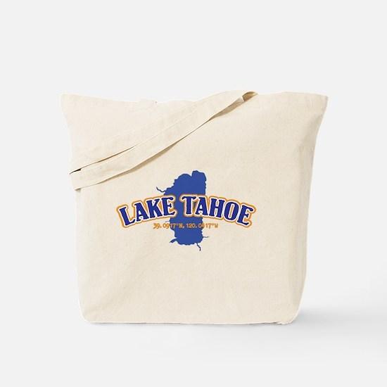 Lake Tahoe with map coordinates Tote Bag