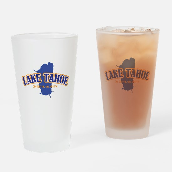 Lake Tahoe with map coordinates Drinking Glass