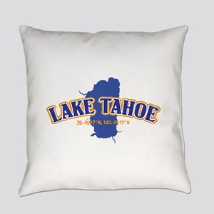 Lake Tahoe with map coordinates Everyday Pillow