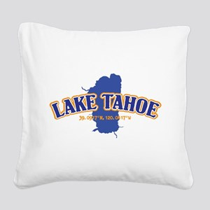 Lake Tahoe with map coordinat Square Canvas Pillow