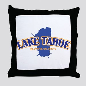 Lake Tahoe with map coordinates Throw Pillow