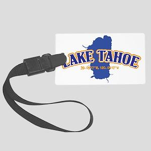 Lake Tahoe with map coordinates Large Luggage Tag