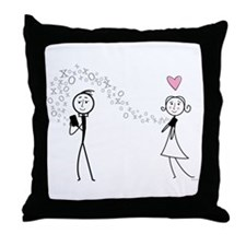 Texting Lovers Throw Pillow