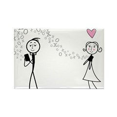 Texting Lovers Rectangle Magnet