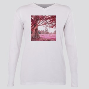 Pink Tree Swing Plus Size Long Sleeve Tee