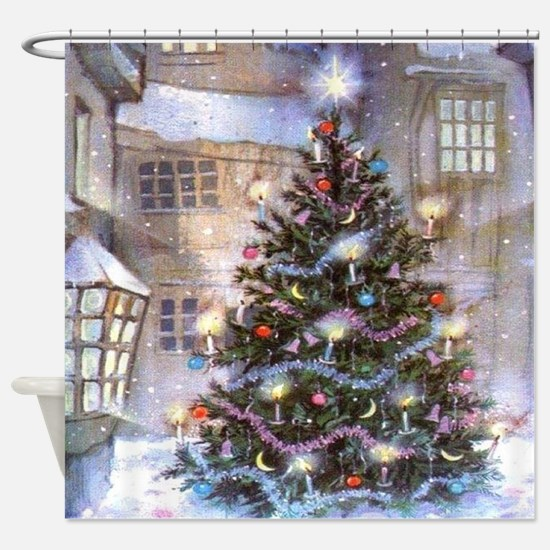 Vintage Christmas Shower Curtain