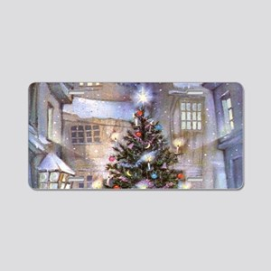 Vintage Christmas Aluminum License Plate