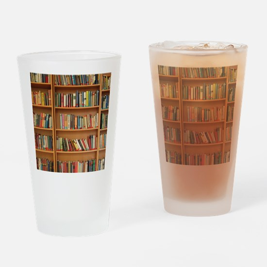 Bookshelf Books Drinking Glass