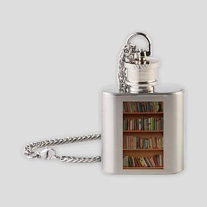 Bookshelf Books Flask Necklace