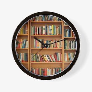 Bookshelf Books Wall Clock