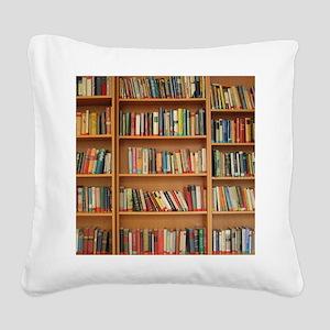 Bookshelf Books Square Canvas Pillow