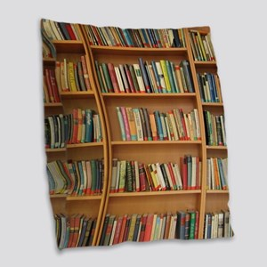 Bookshelf Books Burlap Throw Pillow