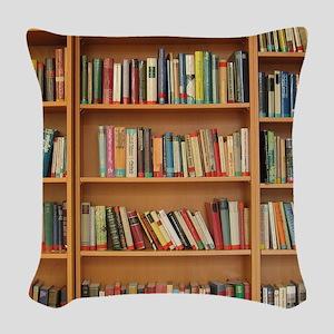 Bookshelf Books Woven Throw Pillow
