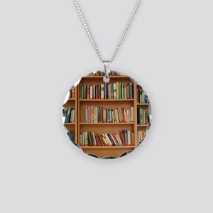 Bookshelf Books Necklace Circle Charm