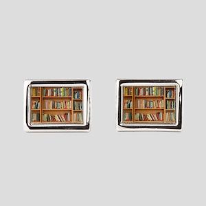 Bookshelf Books Rectangular Cufflinks