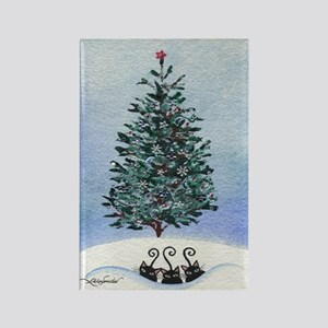 Christmas Tree Stray Cats Rectangle Magnet