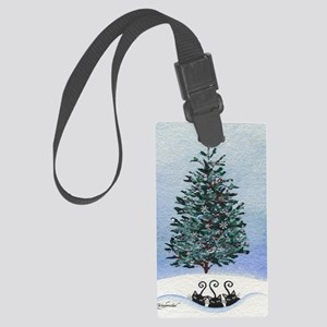 Christmas Tree Stray Cats Large Luggage Tag