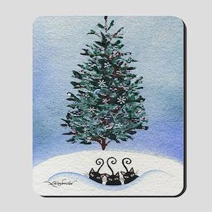 Christmas Tree Stray Cats Mousepad