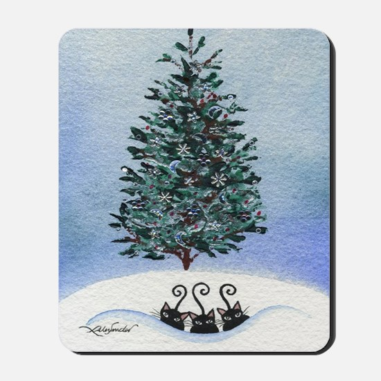 Christmas Tree Stray Cats Mousepad