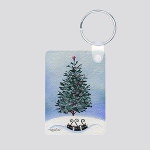 Christmas Tree Stray Cats Aluminum Photo Keychain