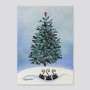 Christmas Tree Stray Cats 5'x7'Area Rug