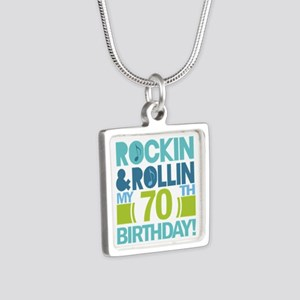 70th Birthday Rock Silver Square Necklace