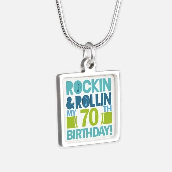 70th Birthday Rock Silver Square Necklace
