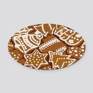 Christmas Gingerbread Oval Car Magnet
