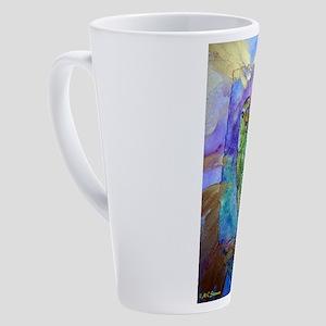 Amazon, Green parrot, art! 17 oz Latte Mug