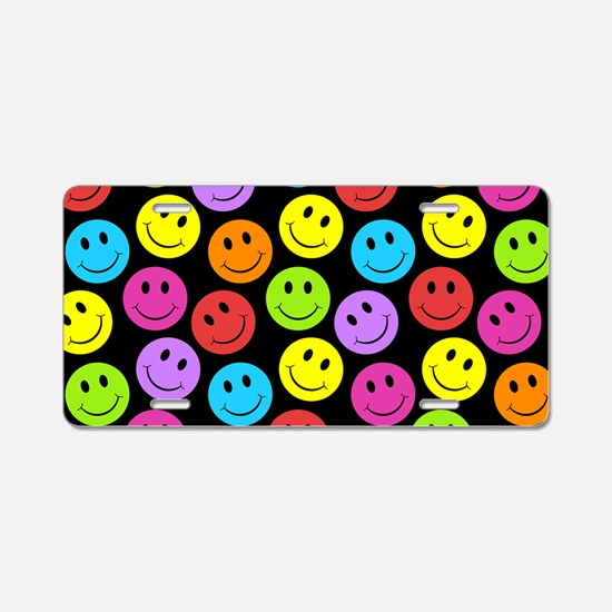 Happy Colorful Smiley Faces Aluminum License Plate