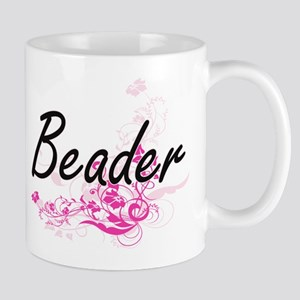 Beader Artistic Job Design with Flowers Mugs