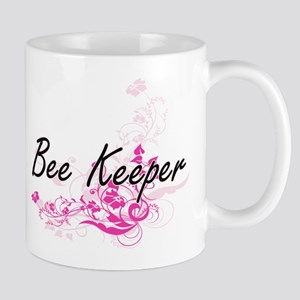 Bee Keeper Artistic Job Design with Flowers Mugs
