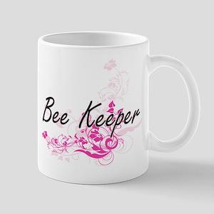 Bee Keeper Artistic Job Design with Flowers Mugs