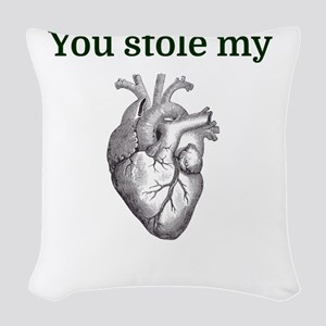 You stole my heart Woven Throw Pillow
