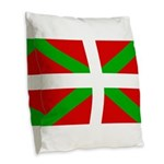 Basque Flag Burlap Throw Pillow