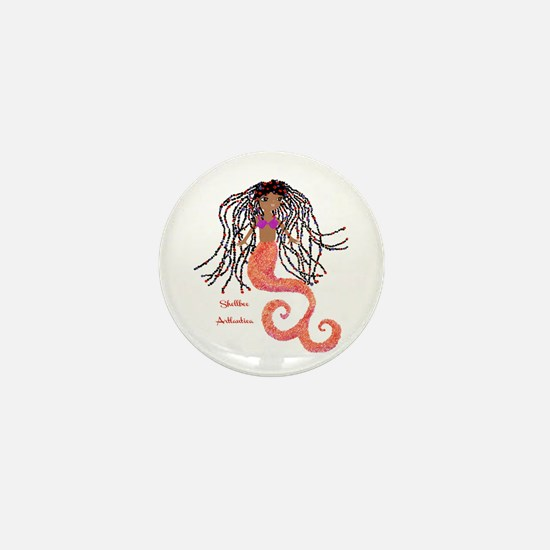 Shellbee, Artlantica (black Mermaid) Mini Button