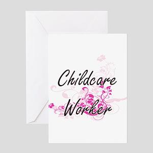 Childcare Worker Artistic Job Desig Greeting Cards