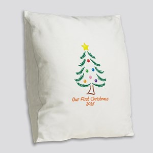 Our First Christmas 2015 Burlap Throw Pillow