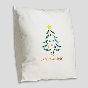 Holiday Christmas Tree 2015 Burlap Throw Pillow