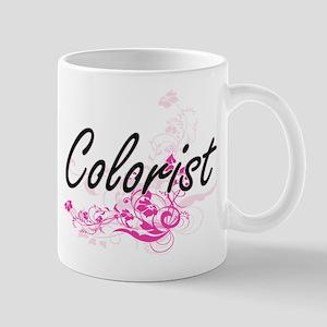 Colorist Artistic Job Design with Flowers Mugs