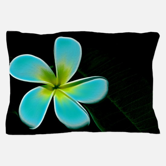 Turquoise Yellow White Flower Pillow Case