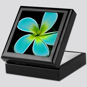 Turquoise Yellow White Flower Keepsake Box